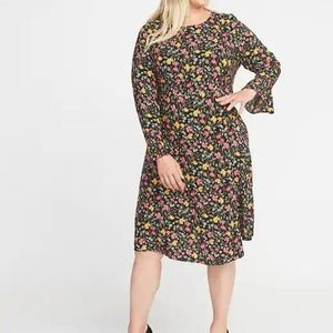 Old Navy Fit & Flare Flute-Sleeve Dress for Women